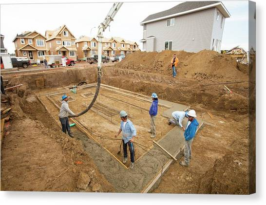 Hard Hat Canvas Print - Construction Workers And Rows Of Houses by Ashley Cooper