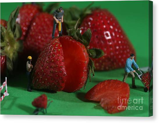 Jackhammers Canvas Print - Construction Workers In Conceptual Food Imagery With Strawberrie by Katrina Brown