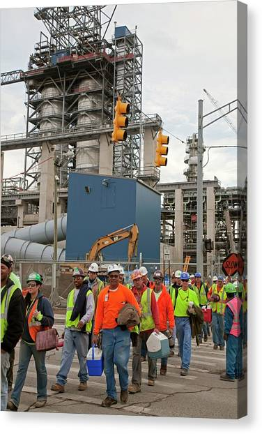 Hard Hat Canvas Print - Construction Workers by Jim West