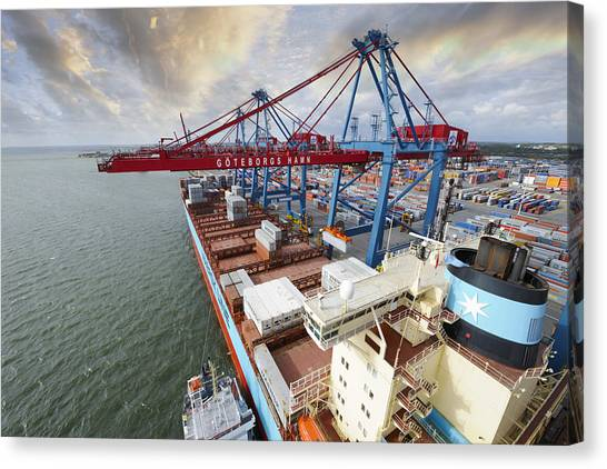 Forklifts Canvas Print - Container Port And Cranes In Action by Christian Lagereek