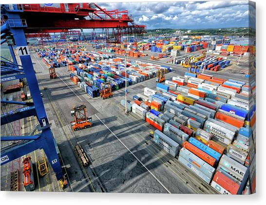 Forklifts Canvas Print - Container Port by Christian Lagerek/science Photo Library