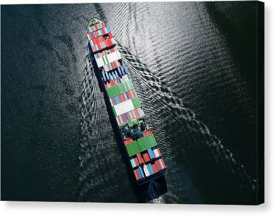 Container Ship Aerial Photo Canvas Print