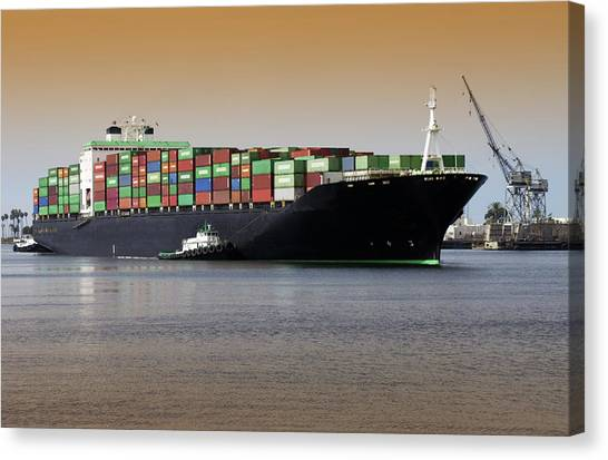 Freight Canvas Print - Container Ship And Tug Boat by Steve Allen/science Photo Library
