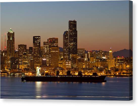 Container Ship On Puget Sound Along Seattle Skyline Canvas Print