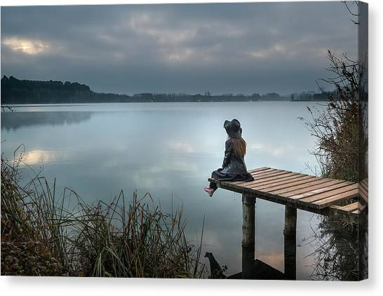Pier Canvas Print - Contemplation by Soniacm