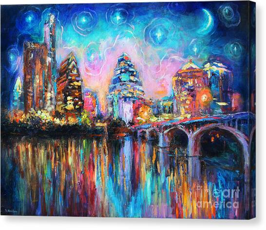 Abstract Skyline Canvas Print - Contemporary Downtown Austin Art Painting Night Skyline Cityscape Painting Texas by Svetlana Novikova