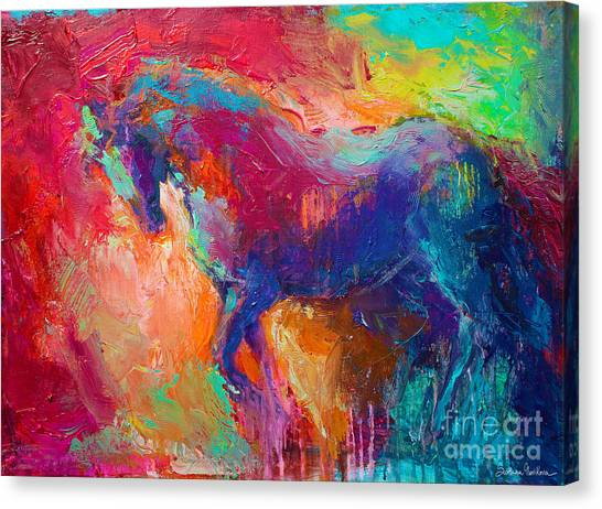 Contemporary Vibrant Horse Painting Canvas Print