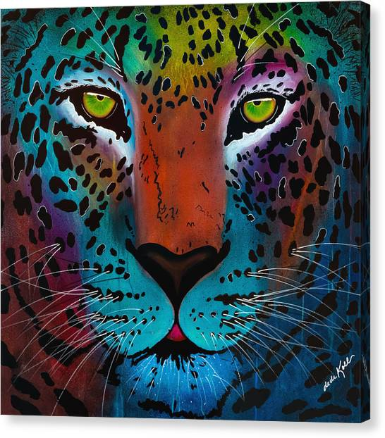 Canvas Print featuring the painting Content Leopard by Dede Koll