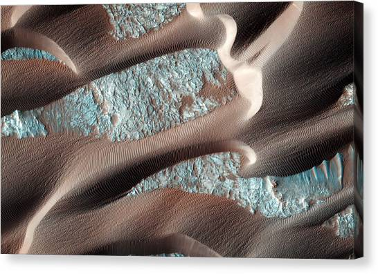 Stellar Canvas Print - Continual Dune And Ripple Migration In Nili Patera Mars by Celestial Images