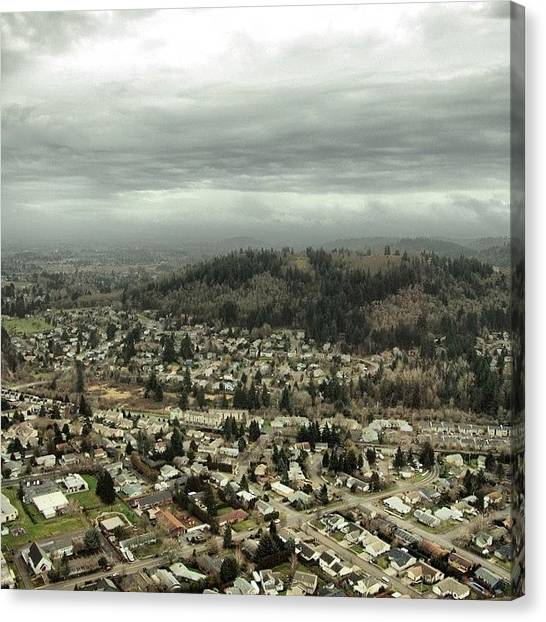 Helicopters Canvas Print - Continues To Be Rainy Here In Portland by Mike Warner