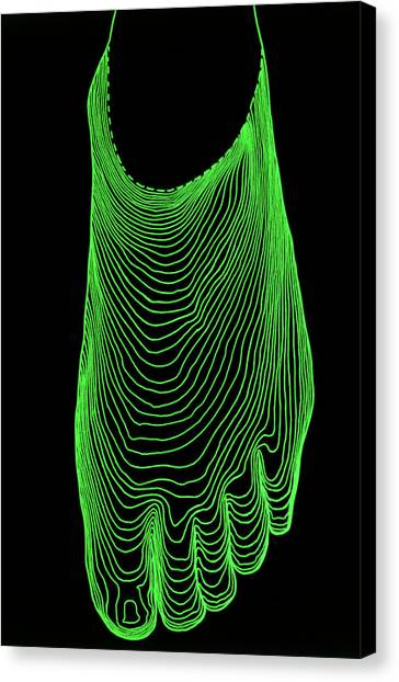 Contour Canvas Print - Contour Map Of Normal Foot by Dr Robin Williams/science Photo Library
