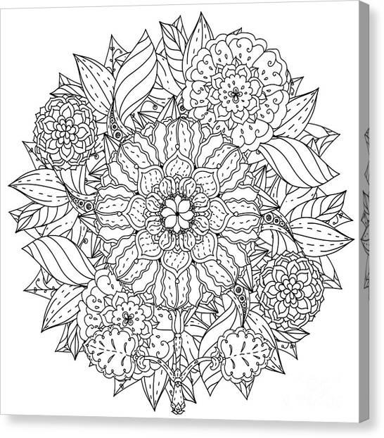 Meditate Canvas Print - Contoured Mandala Shape Flowers For by Mashabr