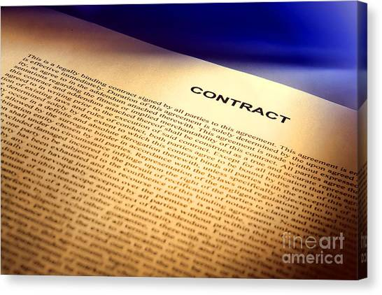 Binders Canvas Print - Contract by Olivier Le Queinec