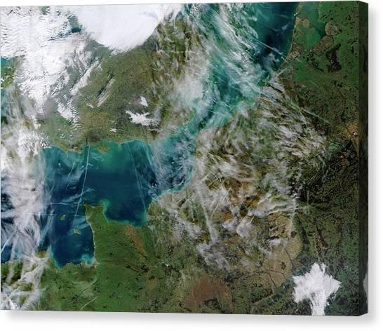 Satellite Canvas Print - Contrails Over The English Channel by Jacques Descloitres, Modis Rapid Response Team, Nasa/gsfc