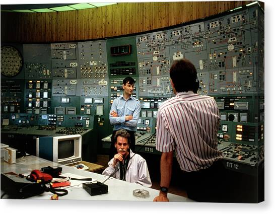 Nuclear Plants Canvas Print - Control Room Of Nuclear Power Station by Thomas Nilsen/science Photo Library