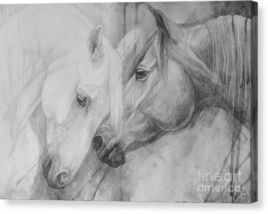 Black And White Art Canvas Print - Conversation II by Silvana Gabudean Dobre