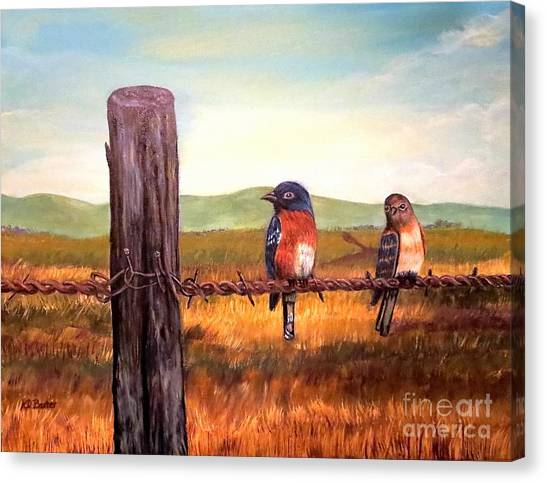 Conversation With A Fencepost Canvas Print