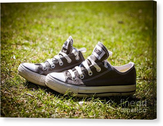 Sneakers Canvas Print - Converse Pumps by Jane Rix