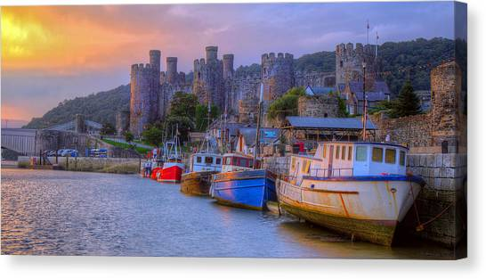 Conwy Castle Canvas Print - Conwy Harbour Sunrise by Mal Bray