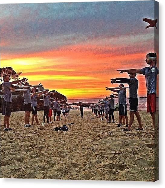 Goal Canvas Print - #coogee #sunrise #beach #ocean by Emily Hames