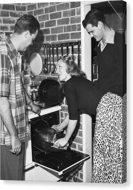 Turkey Dinner Canvas Print - Cooking A Thanksgiving Turkey by Underwood Archives