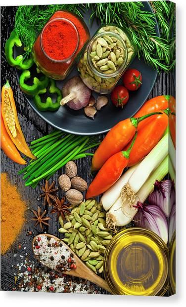 Cooking And Seasoning Ingredients Canvas Print by Fcafotodigital