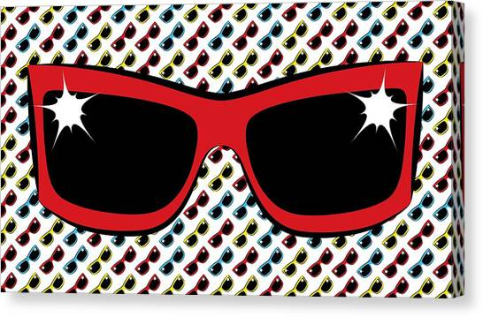 Cool 90's Sunglasses Red Canvas Print
