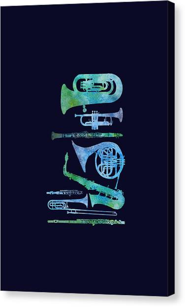 Trombone Canvas Print - Cool Blue Band by Jenny Armitage