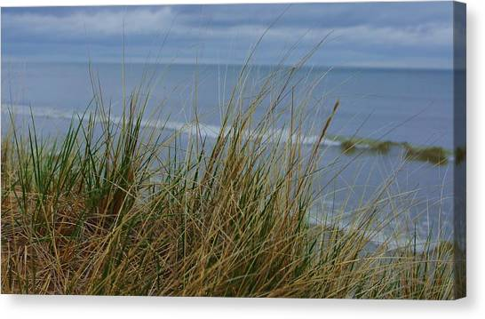 Cool Day At The Beach Canvas Print by Rosemarie E Seppala