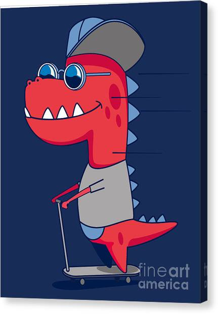 Happy Canvas Print - Cool Dinosaur Character Design by Braingraph
