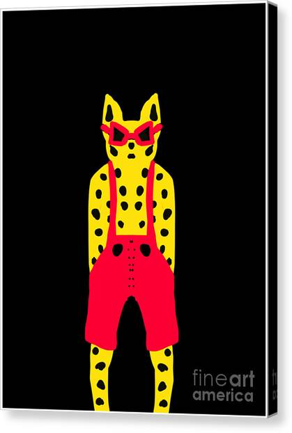 Cool For Cats In Red Dungarees Canvas Print