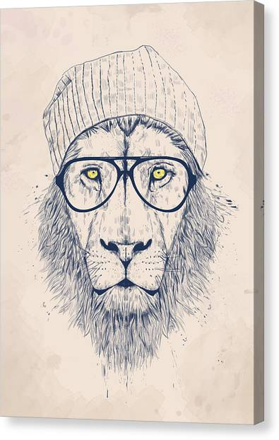 Blue Canvas Print - Cool Lion by Balazs Solti