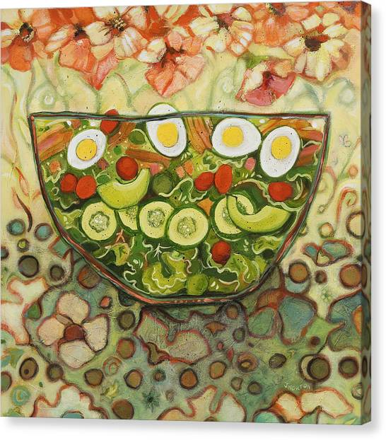 Lettuce Canvas Print - Cool Summer Salad by Jen Norton