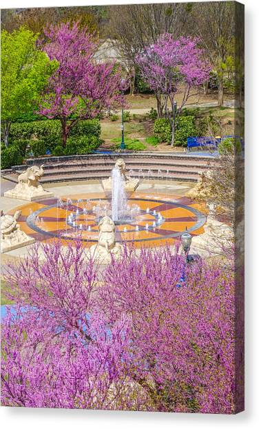 Coolidge Park Fountain In Spring Canvas Print