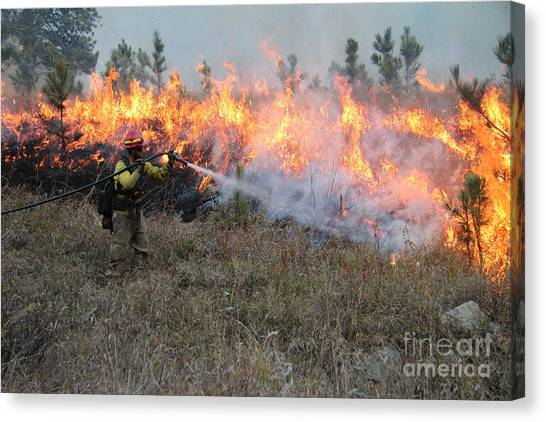 Cooling Down The Norbeck Prescribed Fire. Canvas Print