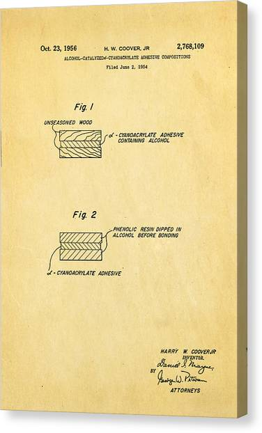 Coover Superglue Patent Art 1956 Canvas Print by Ian Monk