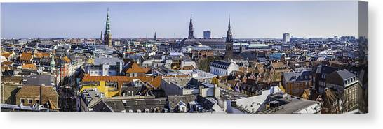 Copenhagen Spires And Rooftops Panorama Over Central Cityscape Denmark Canvas Print by fotoVoyager