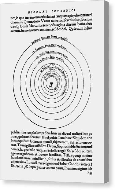 Celestial Sphere Canvas Print - Copernicus's Heliocentric Model by Royal Astronomical Society/science Photo Library