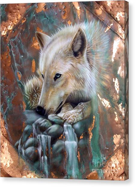 Copper Arctic Wolf Canvas Print