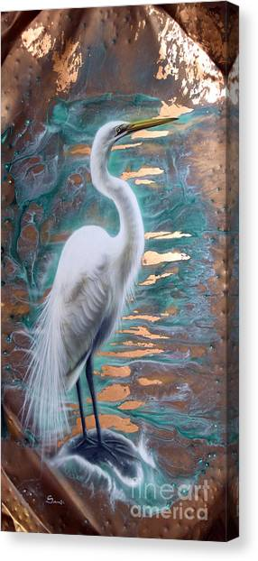 Copper Egret Canvas Print