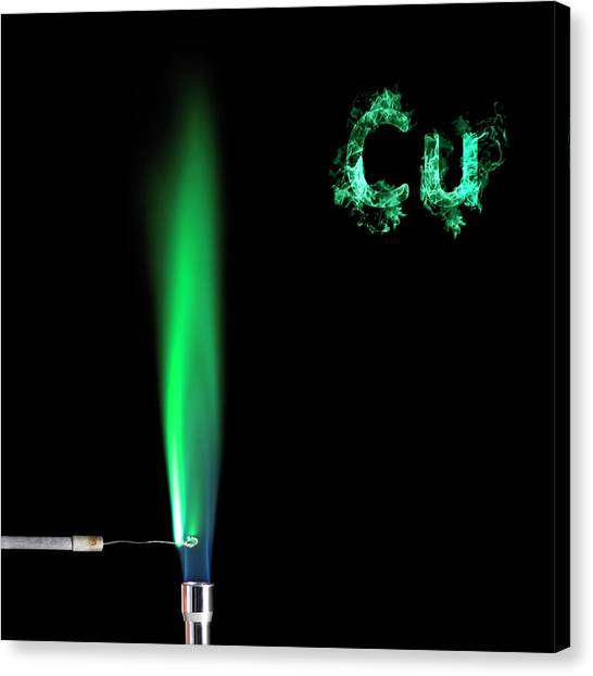 Flame Test Canvas Print - Copper Flame Test by Science Photo Library