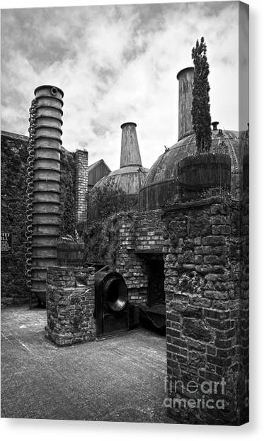 Copper Pot Stills And Column Still At Lockes Distillery Bw Canvas Print