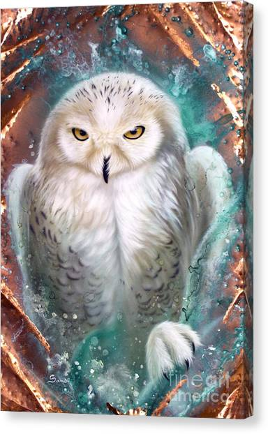 Copper Snowy Owl Canvas Print