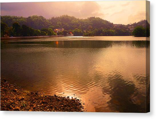 Jenny Lake Canvas Print - Copper Waters Of Kandy Lake. Kandy. Sri Lanka by Jenny Rainbow