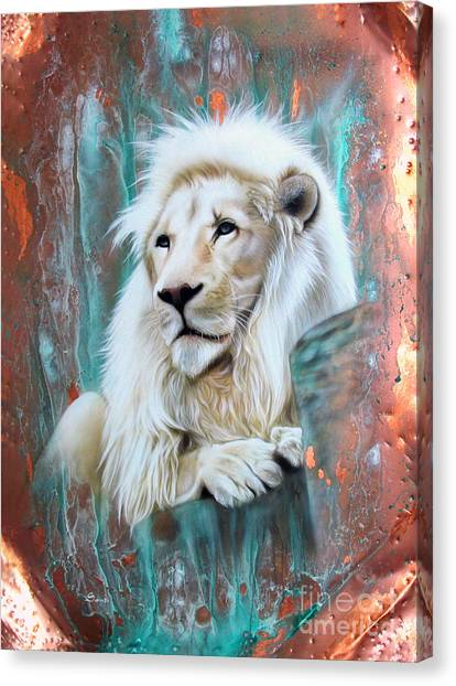 Copper White Lion Canvas Print