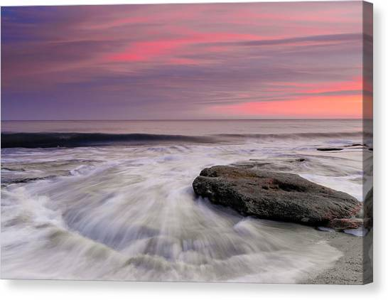 Coquina Rocks Washed By Ocean Waves At Colorful Sunset Canvas Print