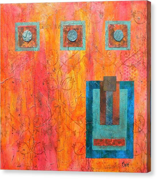 Coral And Turquoise Canvas Print