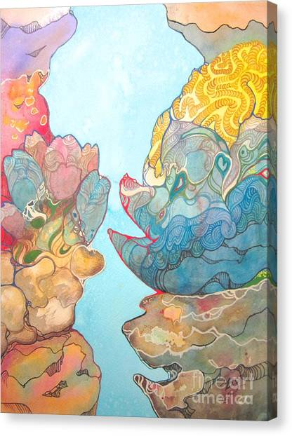 Coral Reef Small Canvas Print by Maya Simonson