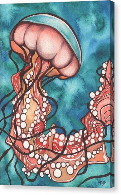 Peaches Canvas Print - Coral Sea Nettle Jellyfish by Tamara Phillips