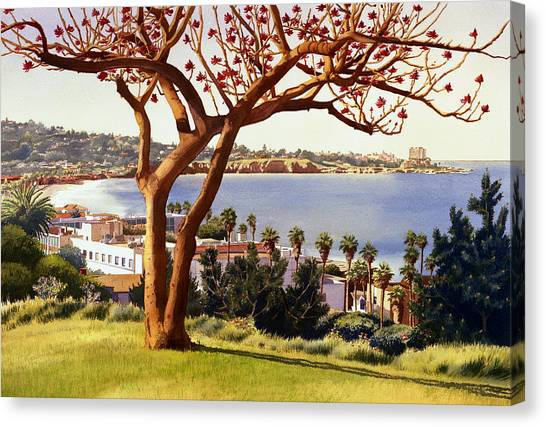 Mt. Rushmore Canvas Print - Coral Tree With La Jolla Shores by Mary Helmreich